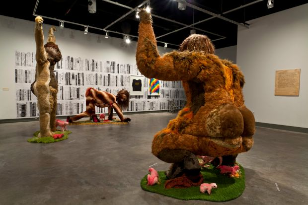 """Installation shot from """"Alien She,"""" which closed in January at MoCC: In foreground: Ladies Sasquatch (2006-2010). Photo courtesy of Allyson Mitchell and Katharine Mulherin Gallery, Toronto."""