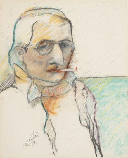 """Self,"" 1984. Drawing; pastel, graphite on paper, 22.25 x 18 inches"