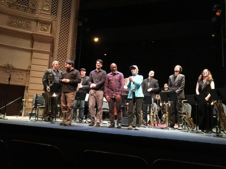 L-R Orton, Detrick, Grant and Dempsey take their bows with PCJE after the Astoria performance.