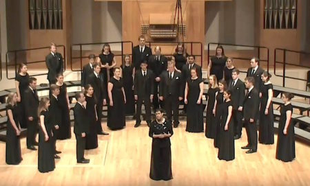 UO Choral ensemble with Sharon J. Paul. Photo: UO SOMD.