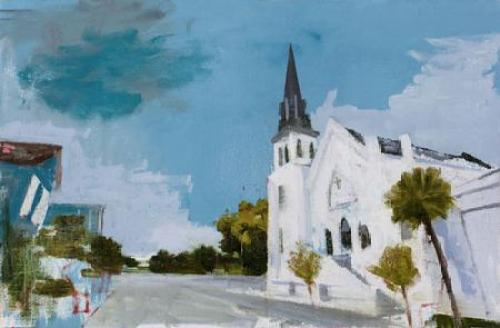 """Stephen Hayes, """"Charleston (6.17.15)"""", oil on canvas,2016,23 x 35 inches"""