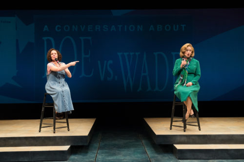 A major Roe v. Wade anniversary puts Norma McCorvey (Sara Bruner) and Sarah Weddington (Sarah Jane Agnew) back in the public eye. Photo: Jenny Graham, Oregon Shakespeare Festival.