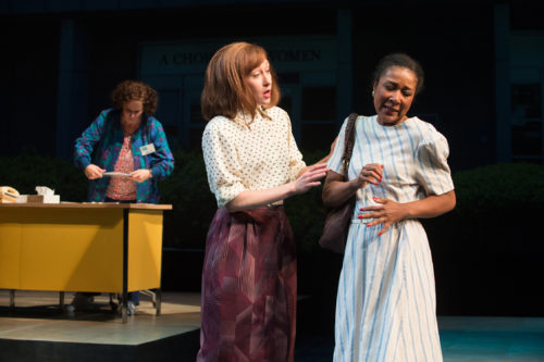 "Operation Rescue member Ronda Mackey (Amy Newman, center) tries to convince a woman (Gina Daniels) not to have an abortion at the clinic where Norma McCorvey (Sara Bruner) works in ""Roe."" Photo: Jenny Graham, Oregon Shakespeare Festival"