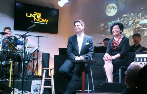 """Vogel with host Leo Daedalus, talking about AGE during an episode of """"The Late Now."""" Photo: Karla Mason Smith"""