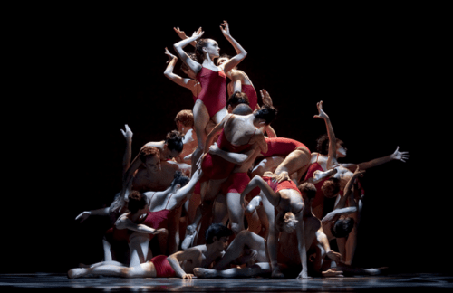 """The Human Monolith in Christopher Stowell's """"The Rite of Spring"""" at Oregon Ballet Theatre: all together, limbs akimbo. Photo: Blaine Truitt Covert"""