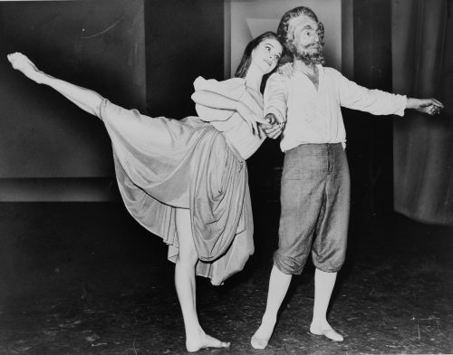 """Suzanne Farrell and George Balanchine in a segment of """"Don Quixote"""" in 1965. As an 8-year-old beginner Larsen didn't understand the long tradition or future of what she was embarking on. But Balanchine created some of his greatest works in the studio where she was learning, and years later she would join Farrell's ballet company. Library of Congress. New York World-Telegram & Sun Collection. Orlando Fernandez, World Telegram staff photographer."""