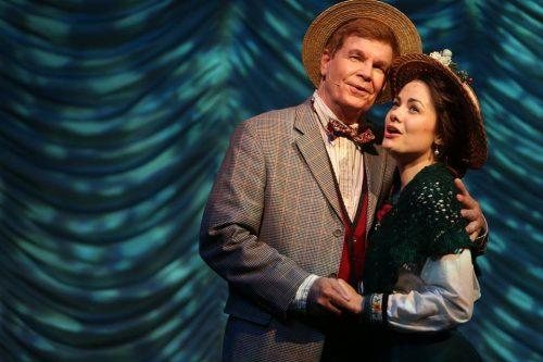 Croon moon June: Dave Sweeny as Professor Harold Hill, Kelly Lanzillo as Marian Paroo. Photo: Clackamas Repertory Theatre