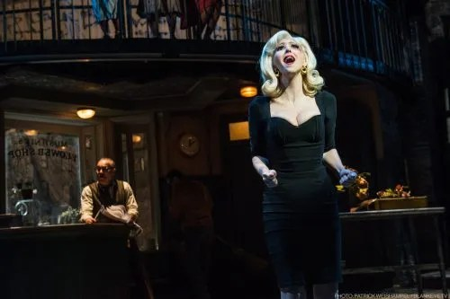 David Meyers as Mushnik and Gina Milo as Audrey. Photo: Patrick Weishampel