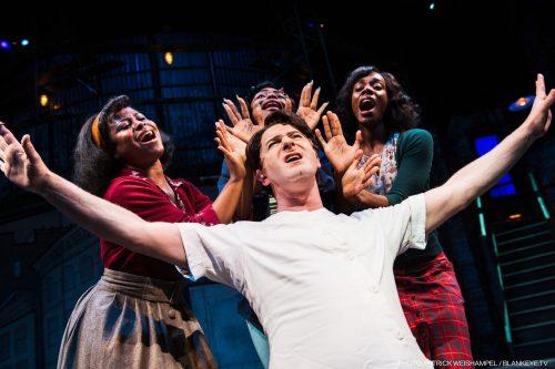 Jamison Stern as Orin the dentist, surrounded by (l-r): Alexis Tidwell as Crystal, Johari Nandi Mackey as Chiffon and Ebony Blake as Ronnette. Photo: Patrick Weishampel