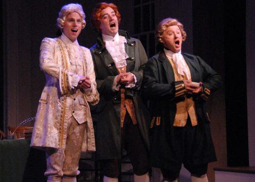 Foundational harmonizers, from left: Jeremy Sloan (Robert Livingston), Adam Eliott Davis (Thomas Jefferson), Dennis Corwin (Roger Sherman). Triumph Photography