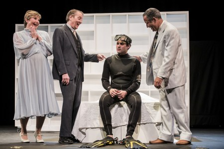 """I've got one word for you, Ben."" Kim Bogus, David Heath, Eric. St. Cyr and Michael Rouches in 'The Graduate.' Photo: Casey Campbell."
