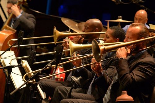 Wynton Marsalis and the Jazz Orchestra of Lincoln Center: teamwork, like hoops. Photo: Frank Stewart