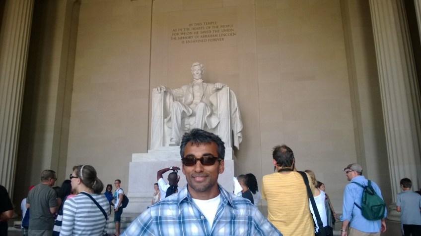 Vijay at the Lincoln Memorial