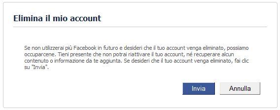Facebook elimina account profilo