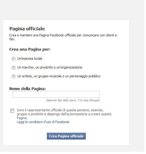 Creare pagina su Facebook