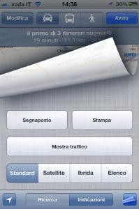 iOS Mappe - opzioni stampa