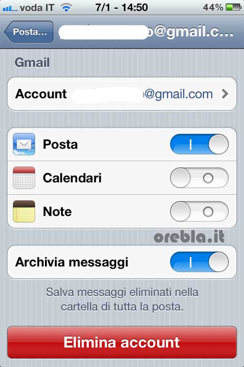 Cancellazione email da iPhone o iPad primo step