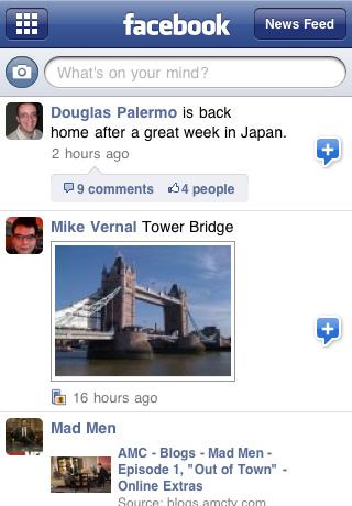 iPhone 4 Facebook App