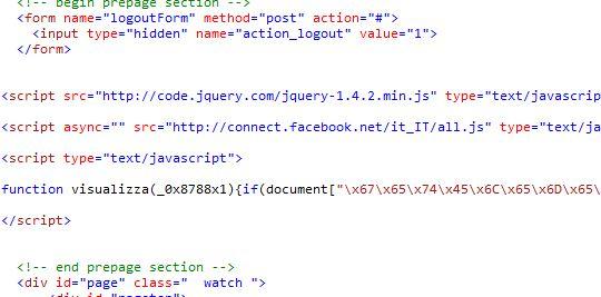 Codice SPAM Facebook