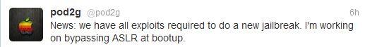 Pod2g Tweet: comunica lo stato dei lavori sul JB di iOS 5.1