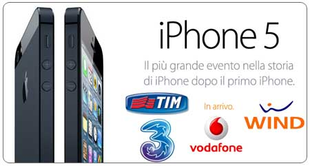 iPhone 5 con Vodafone Tim Tre Wind