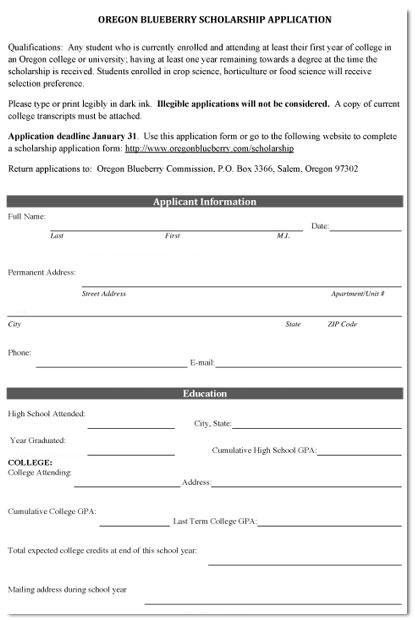 Oregon Blueberry Scholarship