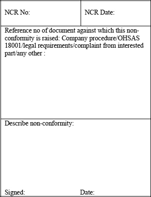 Appendix I Sample Format for a Non-Conformity Report (NCR) - OHSAS
