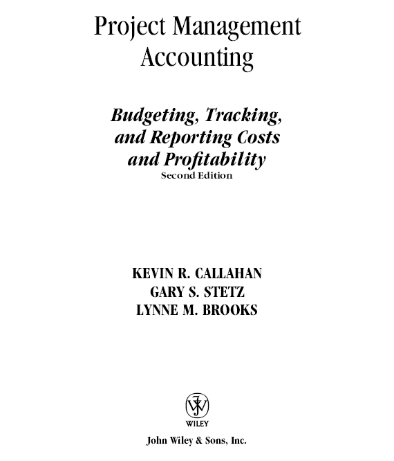 Title Page - Project Management Accounting Budgeting, Tracking, and