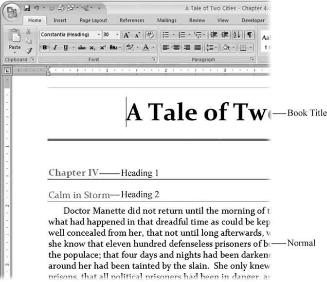 4 Formatting Text, Paragraphs, and Headings - Word 2007 The