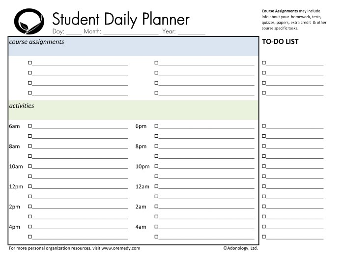 Resources  Oremedy Get Organized Be Successful - college planner organization