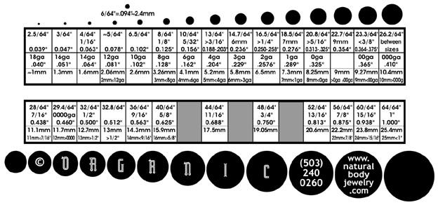 ORGANIC  Natural Body Jewelry  Conversion Chart  Gauge (ga