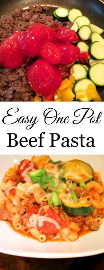 This simple one pot beef pasta and vegetable recipe is a keeper!