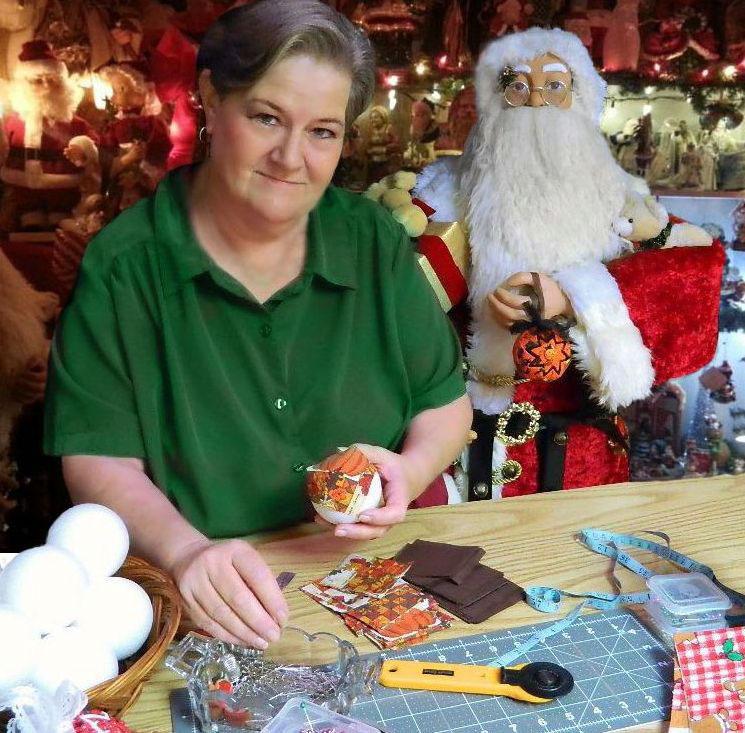 rebecca making ornaments