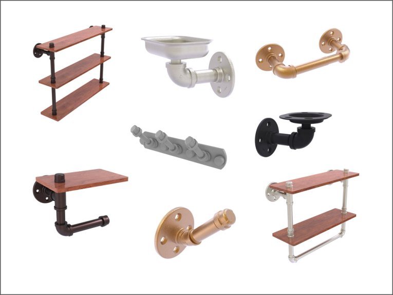 industrial pipe-style bath accessories
