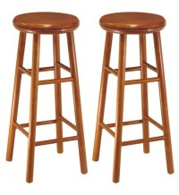 30 Inch Wooden Swivel Bar Stools - Cherry (Set of 2) in ...