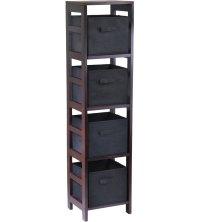 4 Basket Storage Shelf Bookcase in Shelves with Baskets