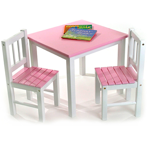 Childrens Wooden Table And Chairs Pink Image