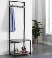 Pipe-Style Foyer Bench and Coat Rack in Entryway Storage