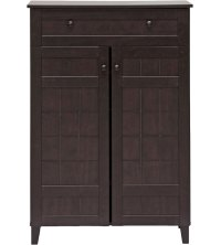 Tall Wood Shoe Cabinet in Shoe Cubbies