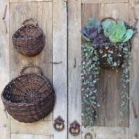 Wall Mounted Storage Baskets (Set of 3) in Wicker Baskets