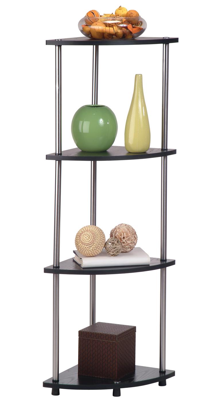 Four Tier Corner Shelf Espresso In Free Standing Shelves