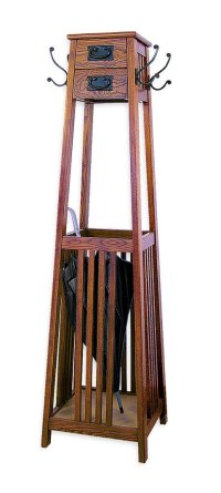 Mission Style Coat Rack - Brown in Coat Stands