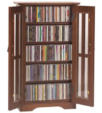 Mission Style Multimedia Cabinet in Wall Media Storage