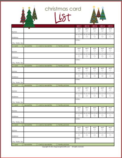 christmas card list address book