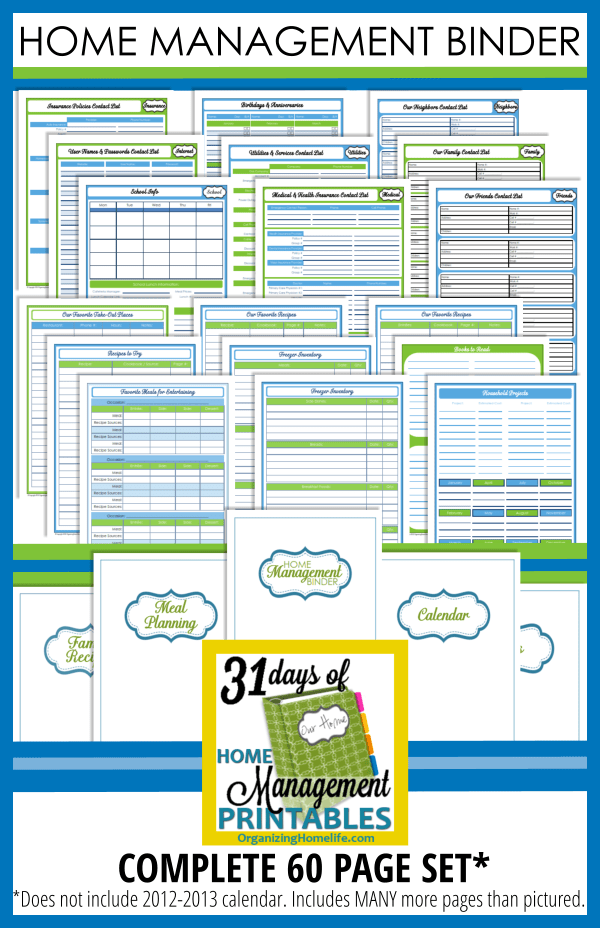 Home management binder templates free costumepartyrun projects maxwellsz