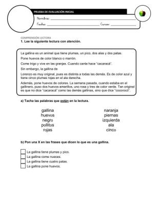 Evaluación Inicial Lengua 3º IMAGEN