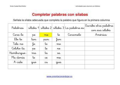 Ejercicios para niños con dislexia Completar palabras con sílabas imagen 2