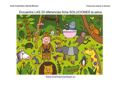 Encuentra las 20 diferencias ficha color la selva a4 imagen_3