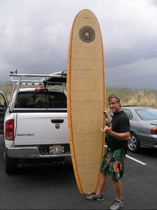Bamboo surfboard by Gary Young
