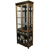Buy Tall Lacquer Curio Cabinet - Black Mother of Pearl ...
